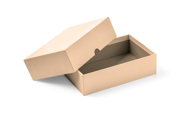 클리핑 패스와 함께 흰색 배경 위에 절연 간단한 갈색 판지 상자