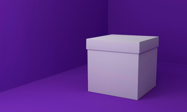 Simple cardboard box on violet background