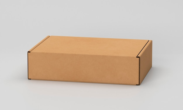 Simple cardboard box on white background