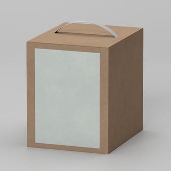 コピースペースとハンドル付きのシンプルな段ボール箱