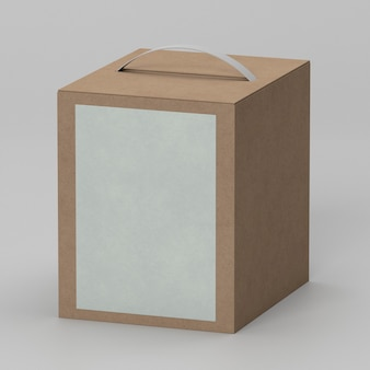 Simple cardboard box with copy space and handle