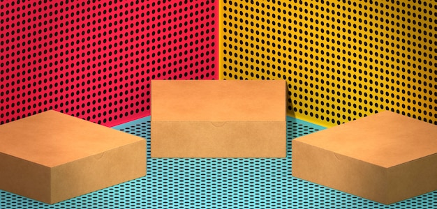 Simple cardboard boxes on coloured background