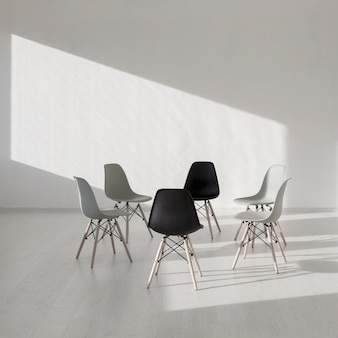 Simple chair in a white clinic room