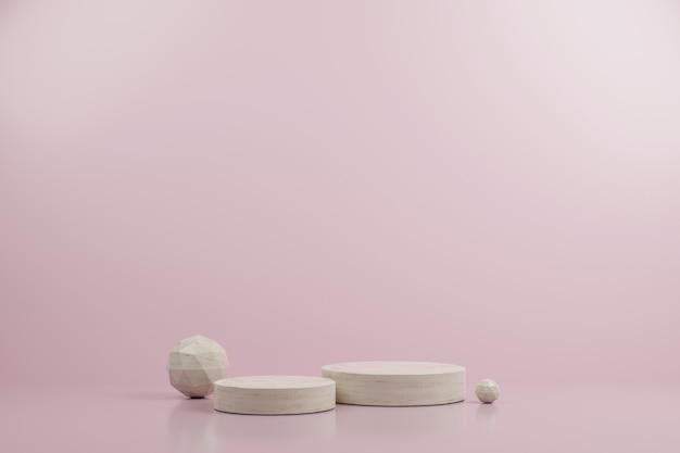 Simple circle marble and ico sphere modern mockup podium with pink background