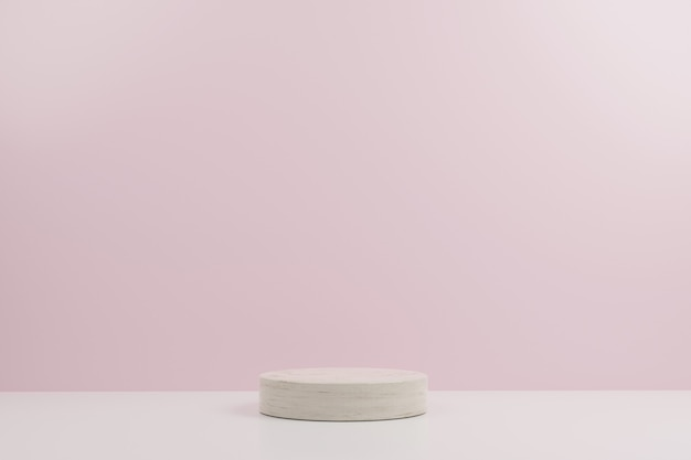 Simple circle marble modern mockup podium with pink background