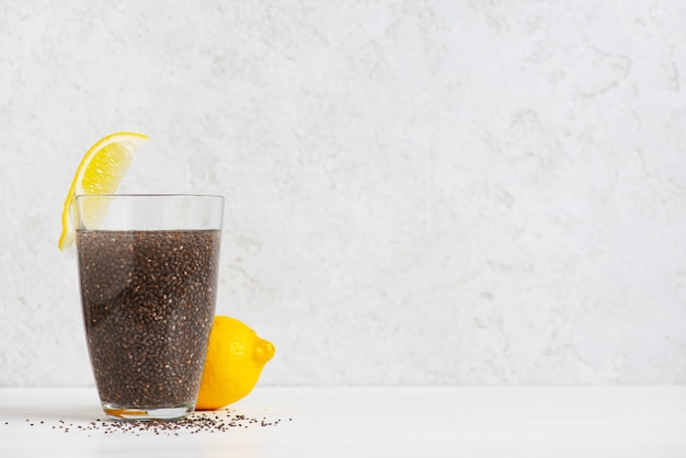Simple cocktail of chia seeds with lemon