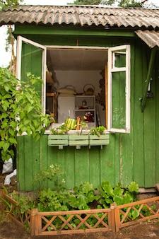 Простой коттедж и колодец на заднем дворе в деревне