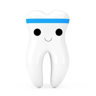 흰색 바탕에 간단한 귀여운 건강한 흰색 만화 장난감 치아 캐릭터 사람. 3d 렌더링