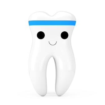 Simple cute healthy white cartoon toy tooth character person on a white background. 3d rendering