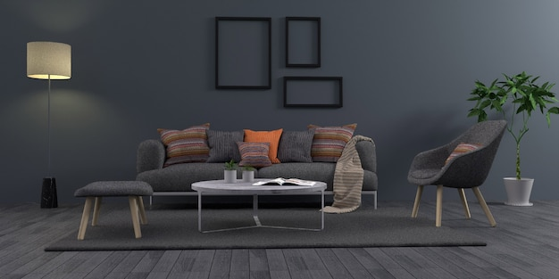Simple dark gray living room modern interior design with black photo frame, 3d rendering