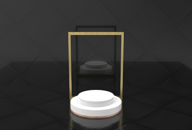 Simple display mockup with golden frame, 3d rendering