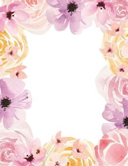 간단한 꽃과 잎 수채화 삽화