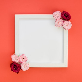 Simple frame with roses top view