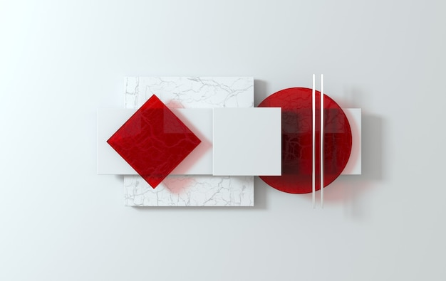 간단한 기하학적 모양, 평면 누워 현장 3d 렌더링 추상 사업 배경