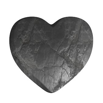 白い背景で隔離の木炭またはスレート構造とシンプルな灰色の石の心