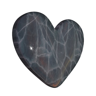 Simple grey stone heart with polished marble granite structure isolated on white background