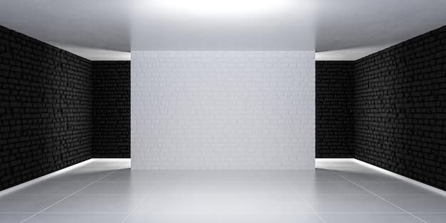 간단한 조명된 배경입니다. 흑백 3차원 빈 방 무대. 3d 렌더링