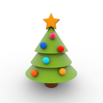 Simple illustration of christmas tree on a white background