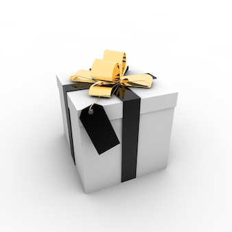 Simple illustration of a gift box with a bow on a white background