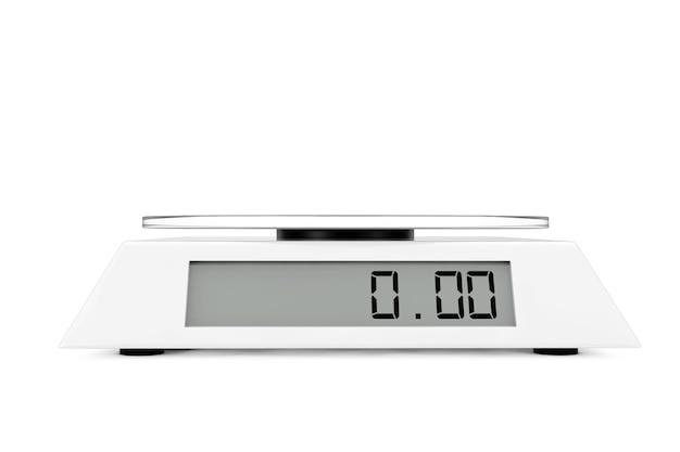 흰색 바탕에 간단한 주방 디지털 규모입니다. 3d 렌더링.