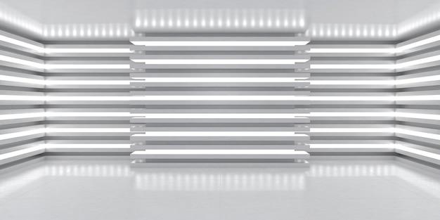 간단한 빛의 입체 장면. 벽에 빛의 라인이 있는 방. 3d 렌더링
