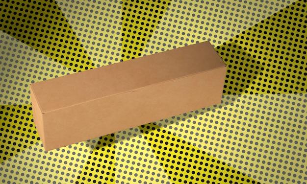 Простая длинная картонная коробка на фоне комиксов