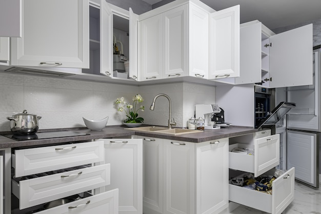 Simple and luxury modern white kitchen interior