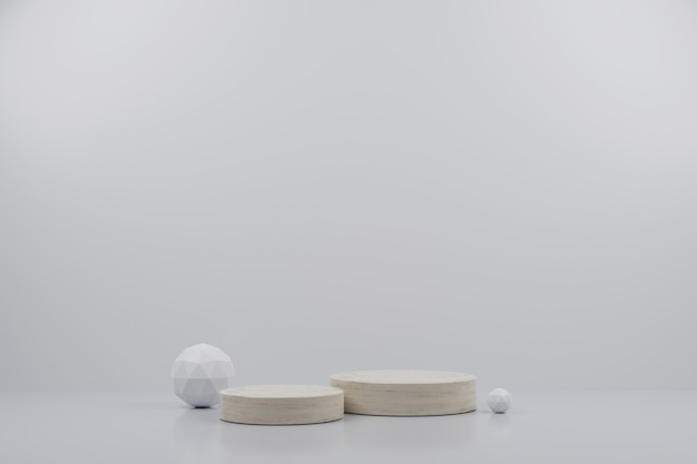 Simple marble modern mockup podium and sphere with white background