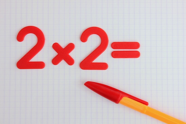 A simple mathematical example in a clean school notebook
