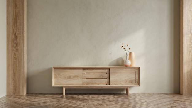 Simple minimal cabinet for tv interior wall mockup,3d rendering