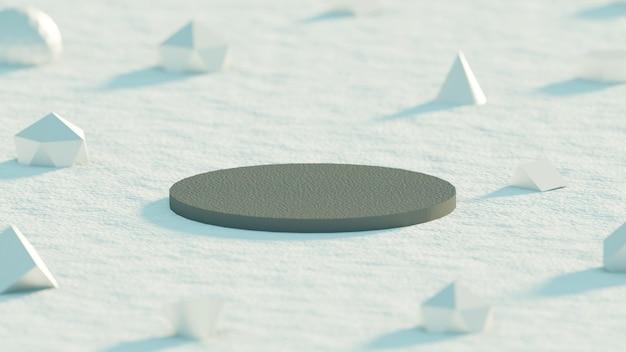 제품 밝은 배경에 대한 기하학적 개체가 있는 단순한 미니멀한 회색 연단