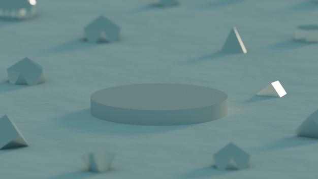 Простой минималистский белый подиум с геометрическим объектом для продукта на темно-синем фоне