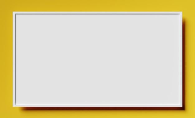 Простой макет белой рамки на желтой поверхности с тенью