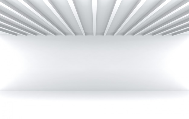 Simple modern parallel panels pattern ceiling with empty white wall room wall