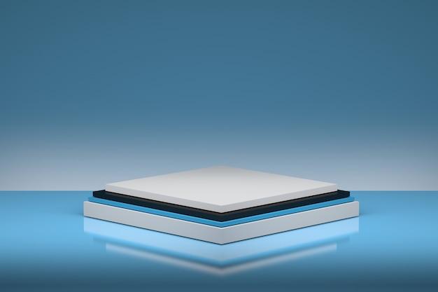파란색 배경 3d 일러스트 레이 션에 누적 된 사각형으로 간단한 다층 받침대