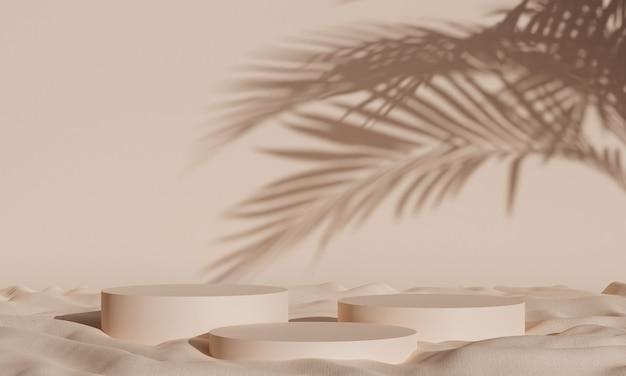 광고, 브랜딩 및 제품 프레젠테이션을 위한 열대 그림자와 패브릭이 있는 간단한 연단 배경. 3d 렌더링