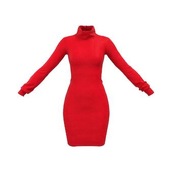 Простой красный комфорт женщины трикотажный свитер на белом фоне. 3d рендеринг
