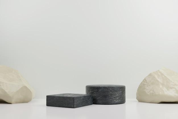 Simple rock and stone modern mockup podium