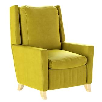 나무 다리가있는 간단한 스칸디나비아 스타일의 노란색 안락 의자. 부드러운 가구. 3d 렌더링 그림입니다.