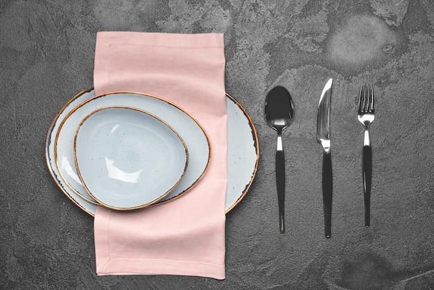 Simple table setting on dark