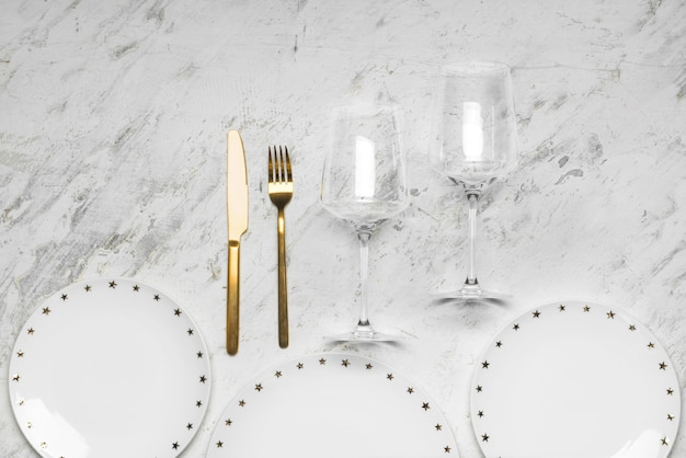 Simple table setting on white