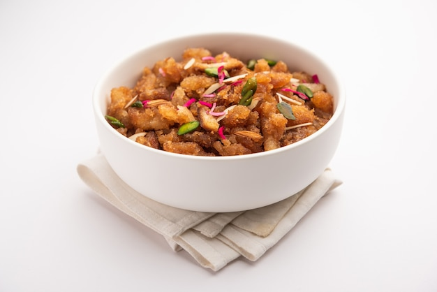 Simple and tasty bread halwa or halva or shira or sheera, indian dessert