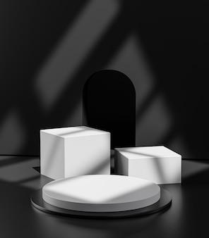 Simple three white pedestal podium stage door shadow display product 3d rendering Premium Photo