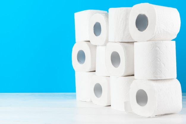 Simple toilet paper, close up side view