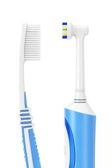 Простая зубная щетка и новая электрическая зубная щетка на белом фоне. 3d рендеринг