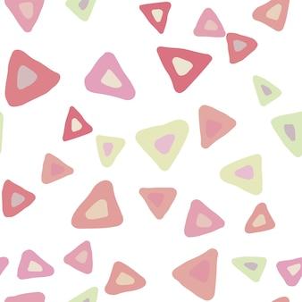 흰색 바탕에 간단한 삼각형 완벽 한 패턴입니다. 손으로 그린 혼란스러운 모양 배경. 파스텔 색상입니다. 벡터 일러스트 레이 션