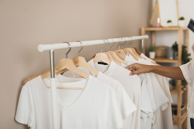 Simple wardrobe with white t-shirts