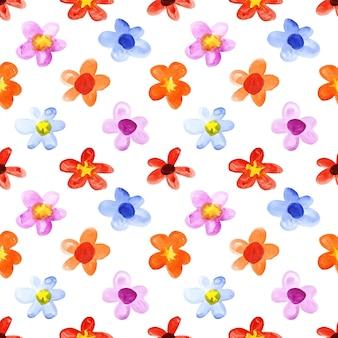 シンプルな水彩花-シームレスな花柄