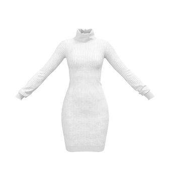 Простой белый свитер трикотажа женщины комфорта на белой предпосылке. 3d рендеринг