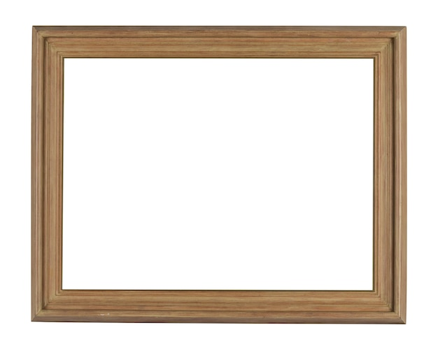 Simple wooden frame under the lights isolated on a white background